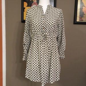 Rhapsody black and white tunic, size medium